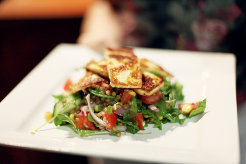 haloumi and lentil salad