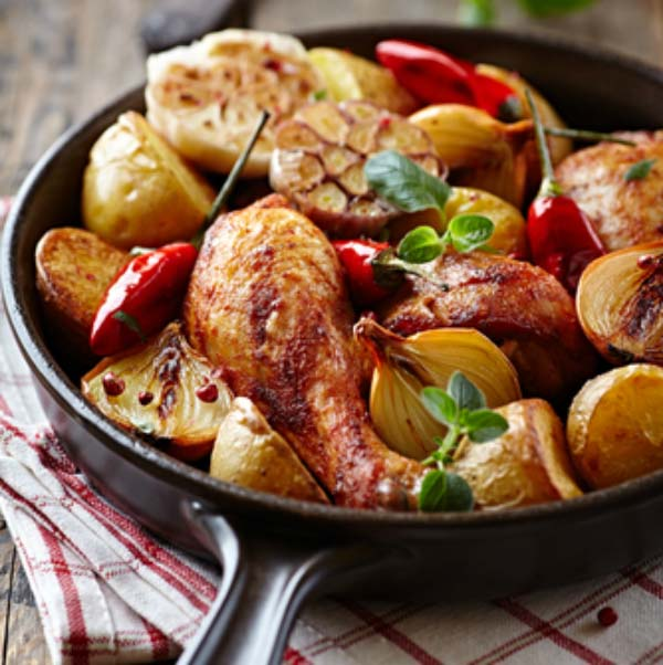 One Pan Lemon Chicken and Roast Vegetables