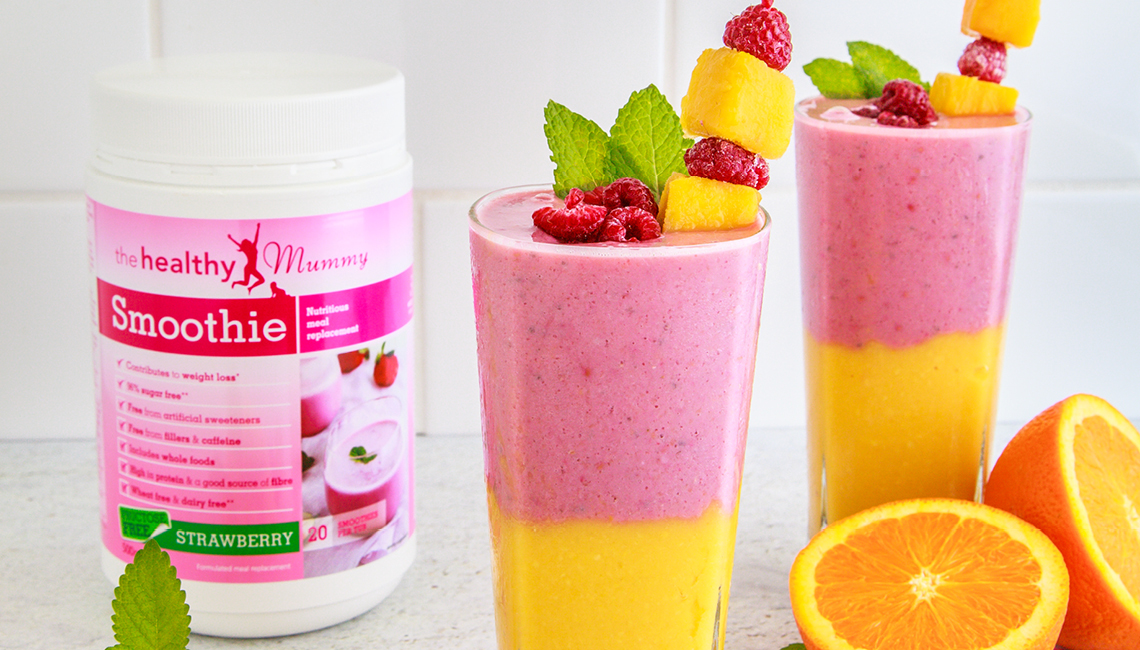 Heathy mummy smoothies - pink and orange