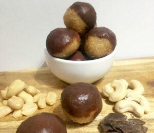 Choc Dipped Peanut Butter Bliss Balls