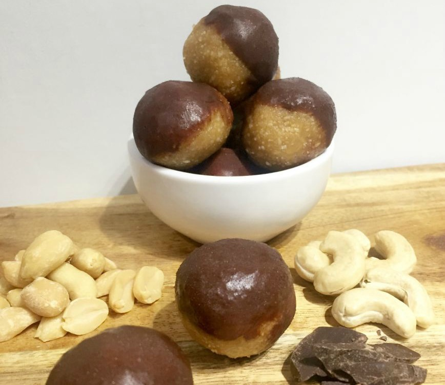 Choc Dipped Peanut Butter Bliss Balls