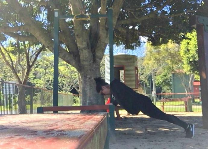 ash makes exercise fun - press up