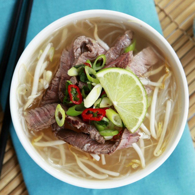 Healthy Homemade Vietnamese Beef Pho Noodle Soup