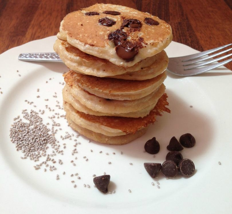 Healthy Kid Friendly Chia Choc Chip Pancakes