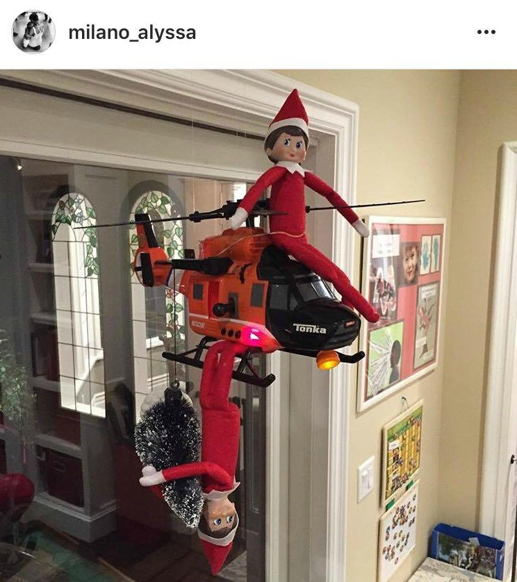 Hilarious Celebrity Santa and Elf On The Shelf Photos