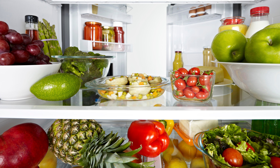 fruit and vegetables in fridge