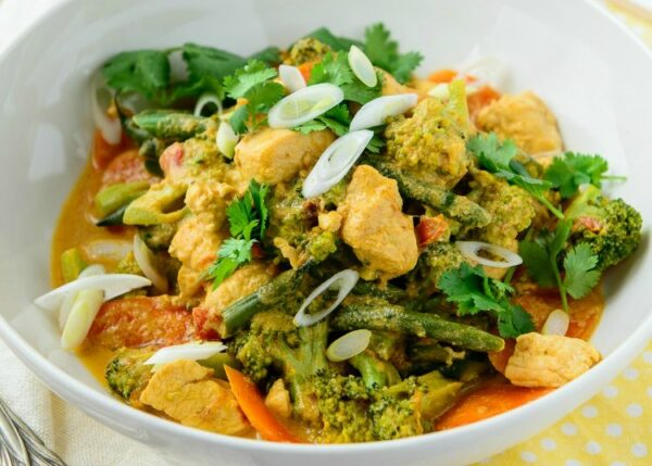 Freezer-friendly veggie packed yellow chicken curry