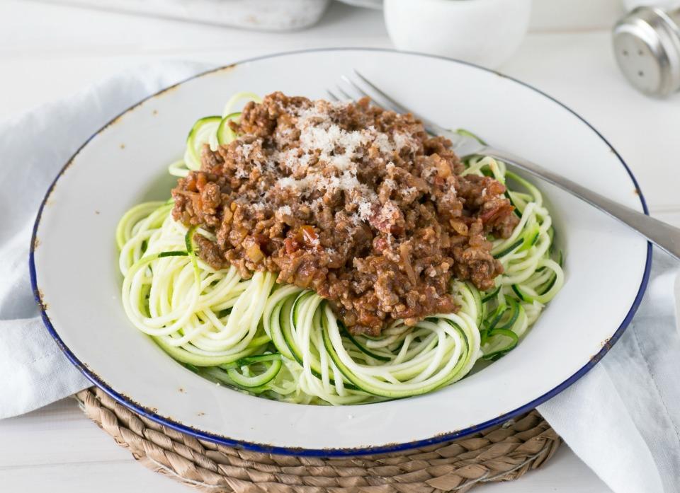 Low Carb Zucchini Noodle Bolognaise