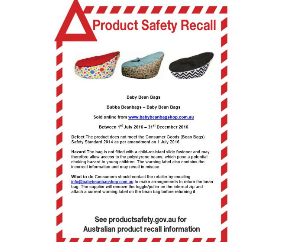 product safety recall bubba beanbag
