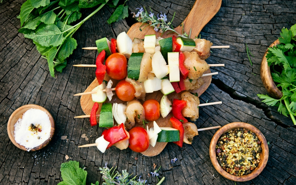 Marinated Fish & Chunky Vegetable Skewers