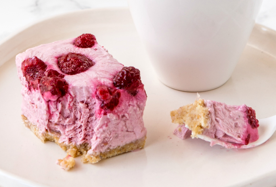 Frozen raspberry cheesecake slice