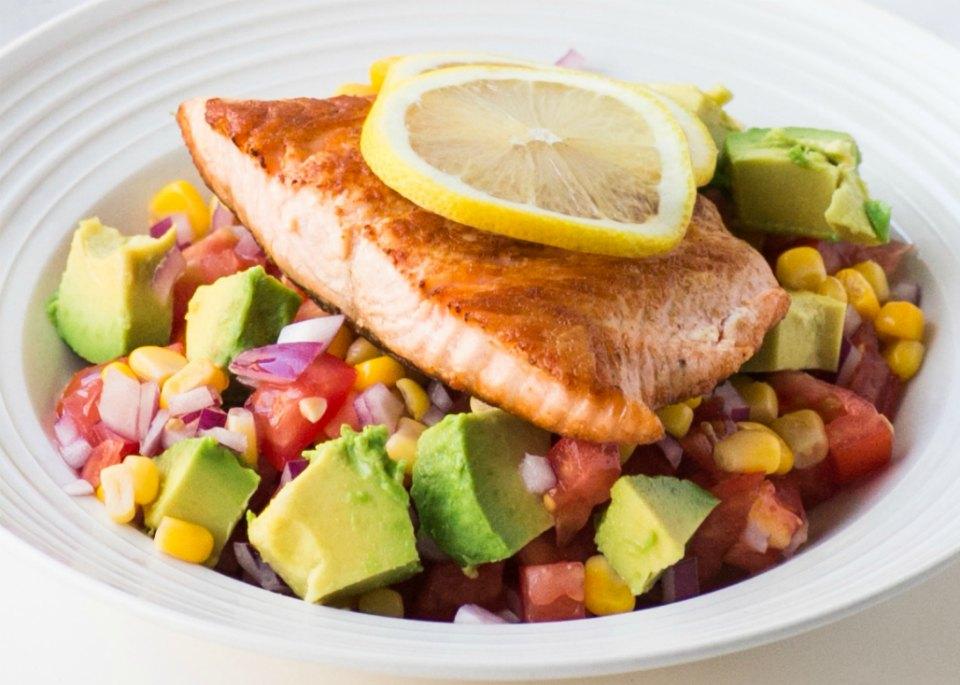 Salmon with Avocado and Corn Salsa