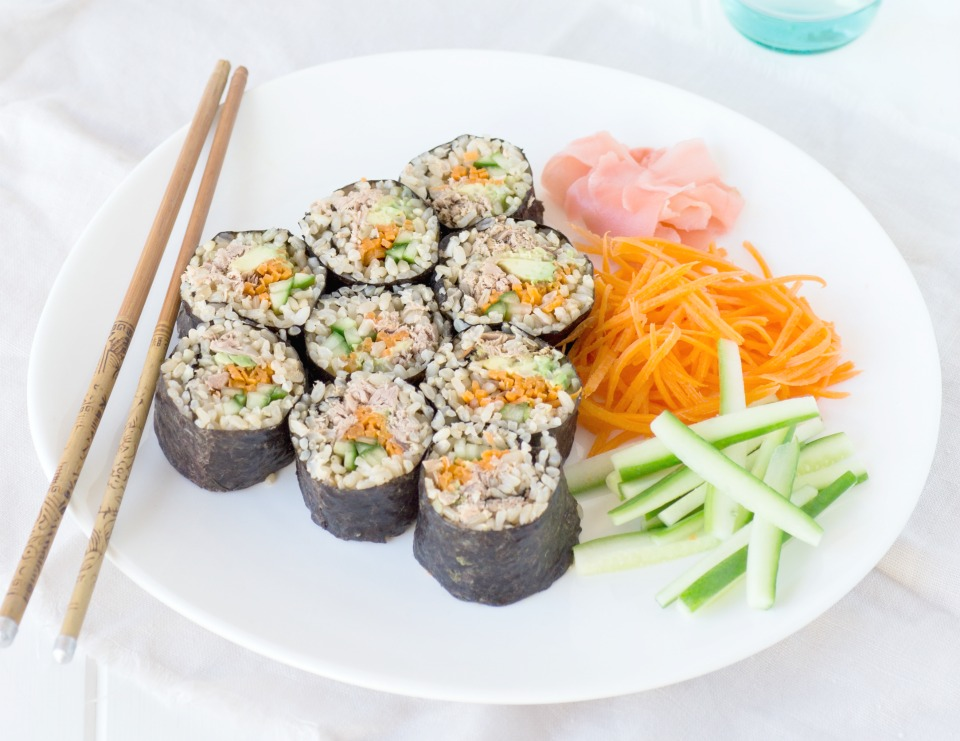Make Ahead Tuna & Vegetable Sushi Rolls