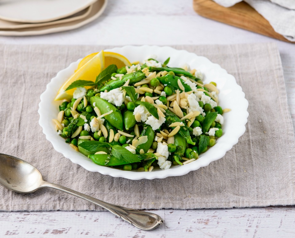 10 Minute Minted Peas with Feta & Almonds