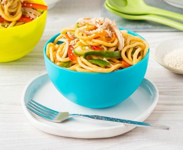 Honey Soy Chicken Veggie Noodle Bowls