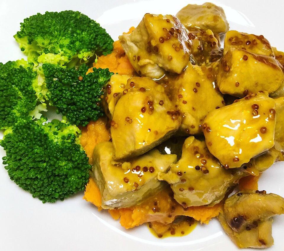 Orange And Mustard Glazed Pork With Veggies