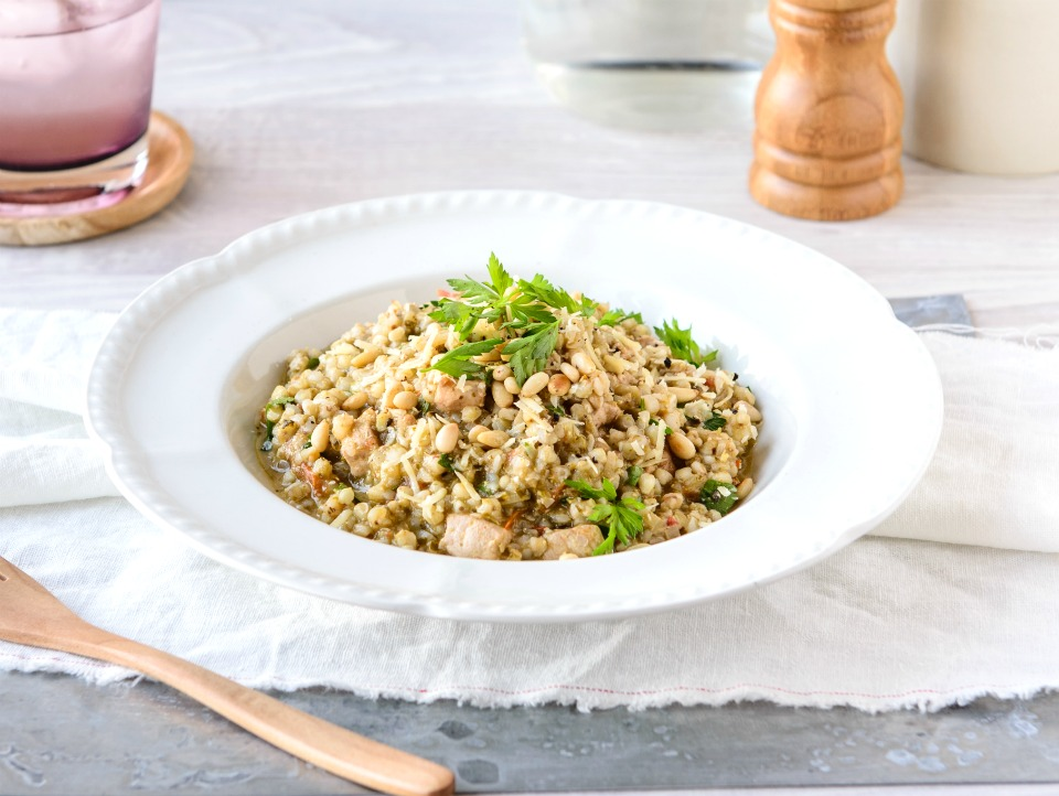 Chicken And Pesto Buckwheat Risotto