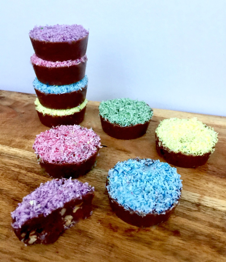 No Bake Colourful Choc Nut Easter Cups