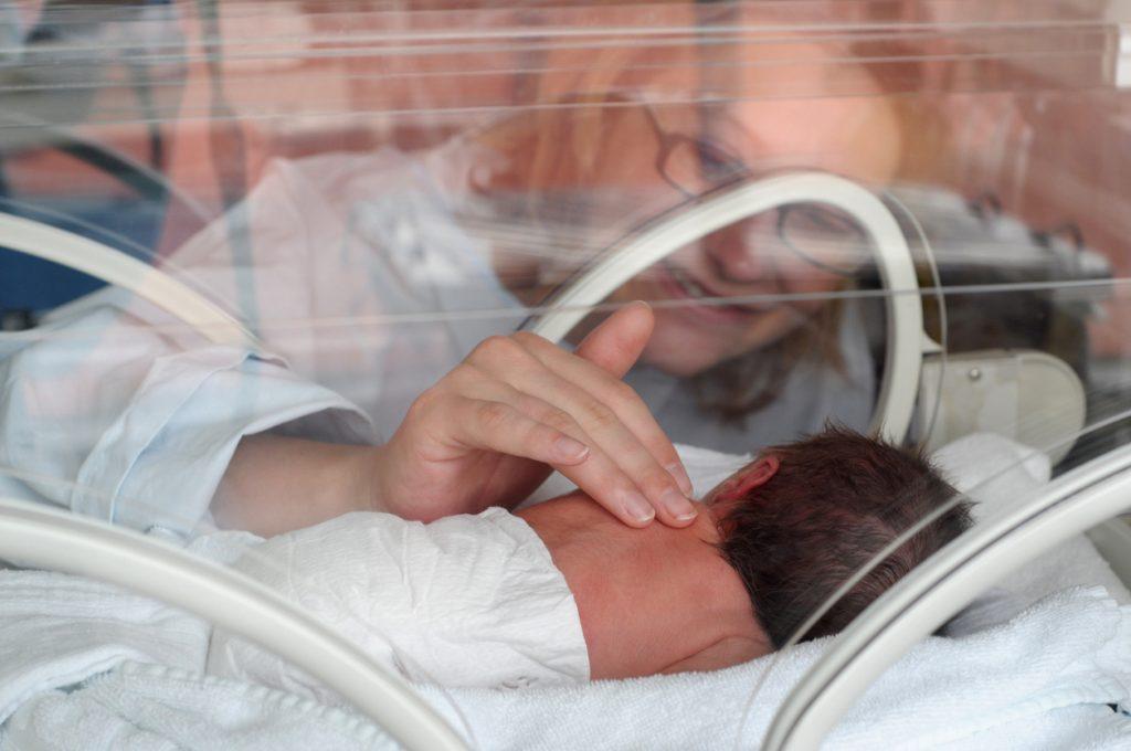 Newborn Premature in Incubator