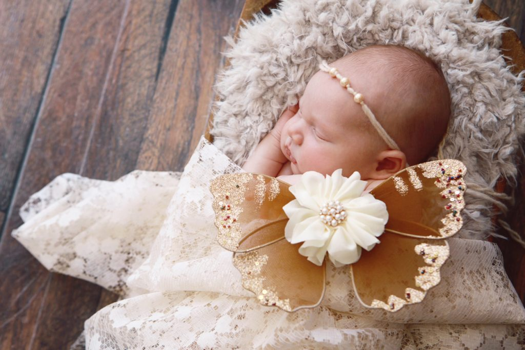 A newborn baby girl is sleeping in an antique bowl, wearing butterfly wings.