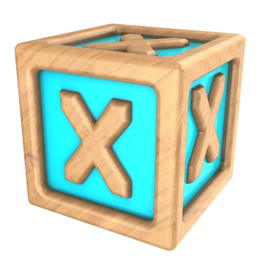 3d illustration of toy cube with sign 'x' on it