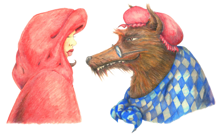 Pencil Drawing of Little Red Riding Hood Characters