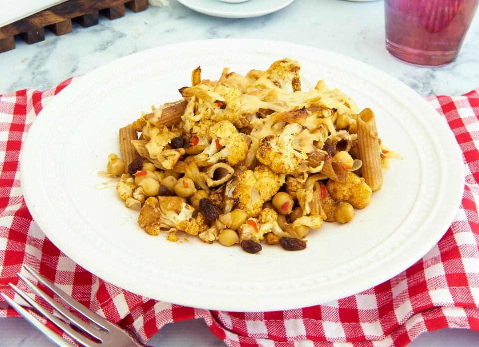 Moroccan Roasted Cauliflower and Chilli Pasta Bake