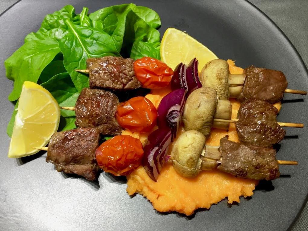 Beef kebabs with roasted sweet potato mash