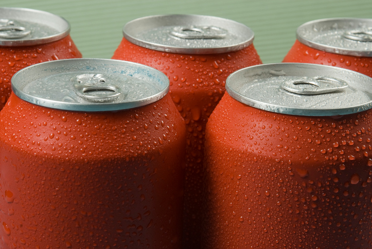 Red cans of soft drink