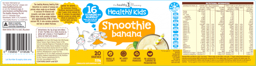 Kids Banana Smoothie Label