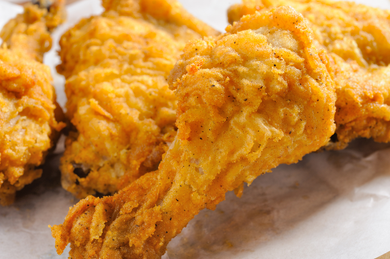 A close-up of pieces of fried chicken