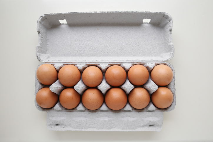 Dozen eggs in packaging