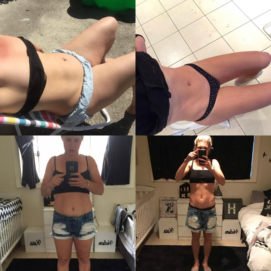 a before and after pic of a woman who lose belly fat