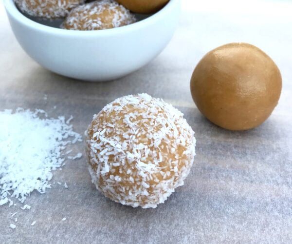 Four ingredient honey and coconut bliss balls