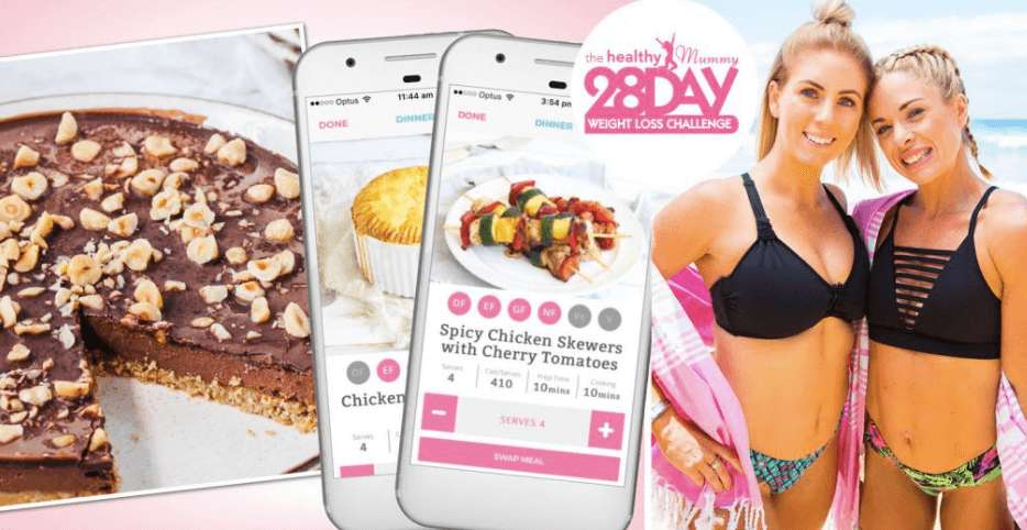28 Day Weight Loss Challenge advert showing recipes and weight loss results
