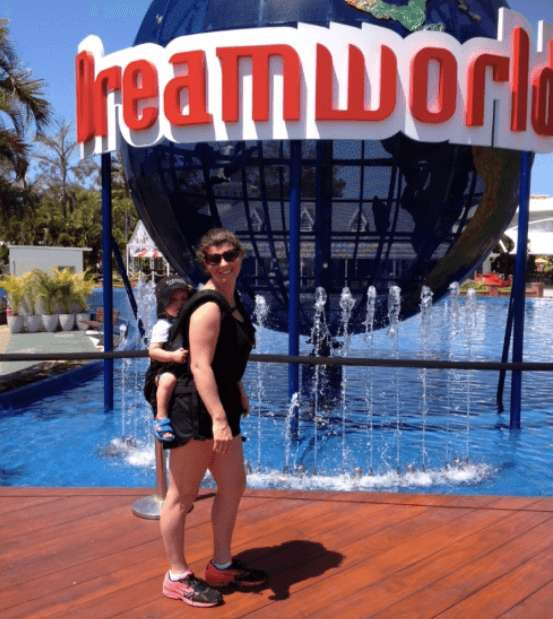 mum at dreamworld wearing baby in carrier