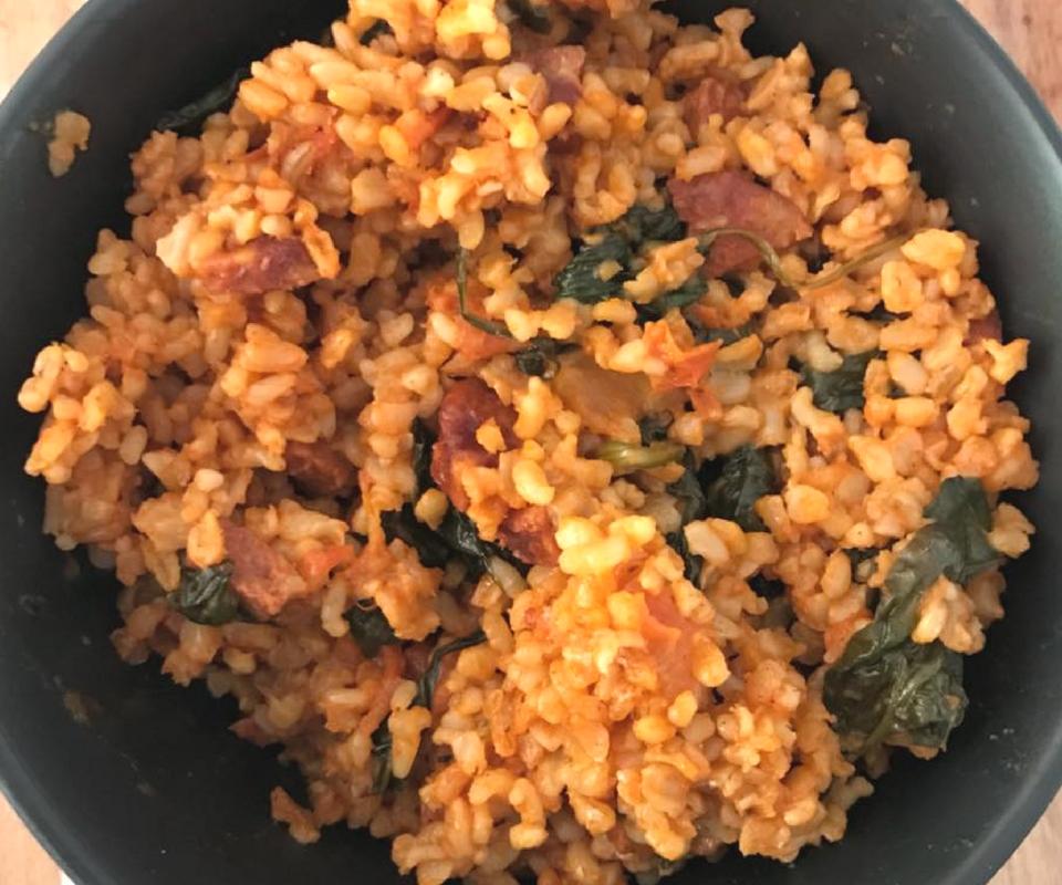 Quick and easy spanish rice with chorizo 409 calories spanish rice print recipe forumfinder Gallery