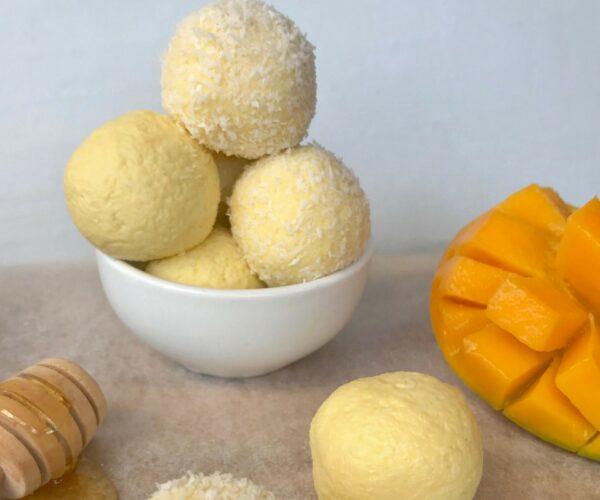 5 ingredient mango and honey cheesecake balls