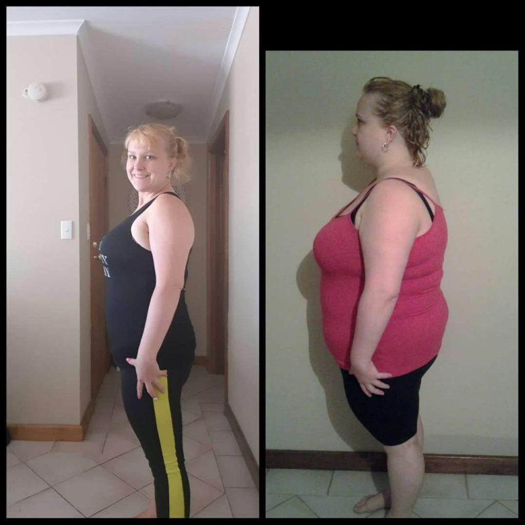Sarah Maynard side shot before and after
