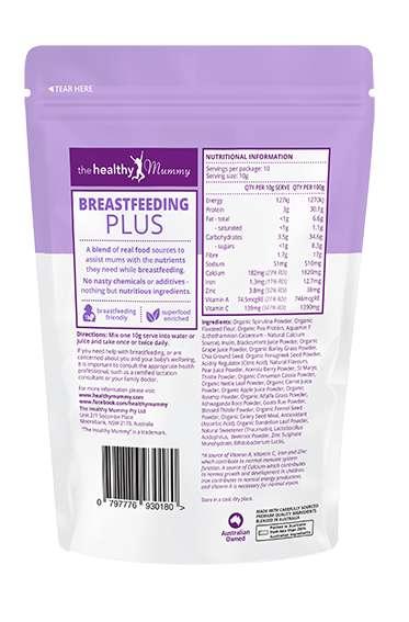 Introducing Breastfeeding Plus - Back of packaging
