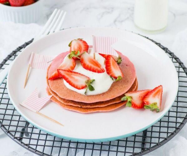 hidden veggie Pink Pancakes