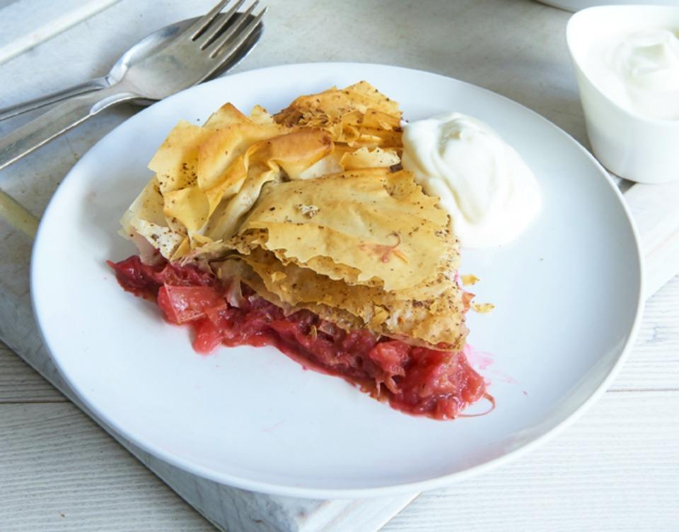 Apple Rhubarb Filo Pie