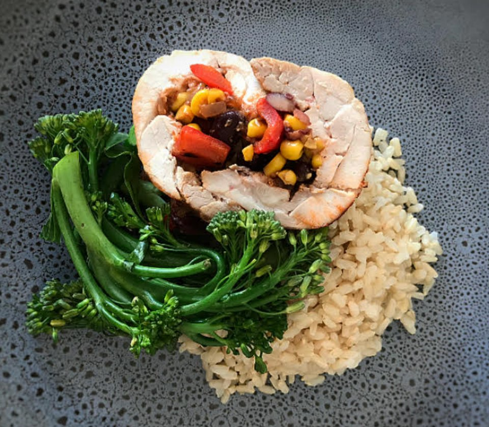 Mexican Stuffed Chicken with Rice