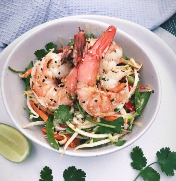 Raw Pad Thai Salad with Grilled Sesame Prawns