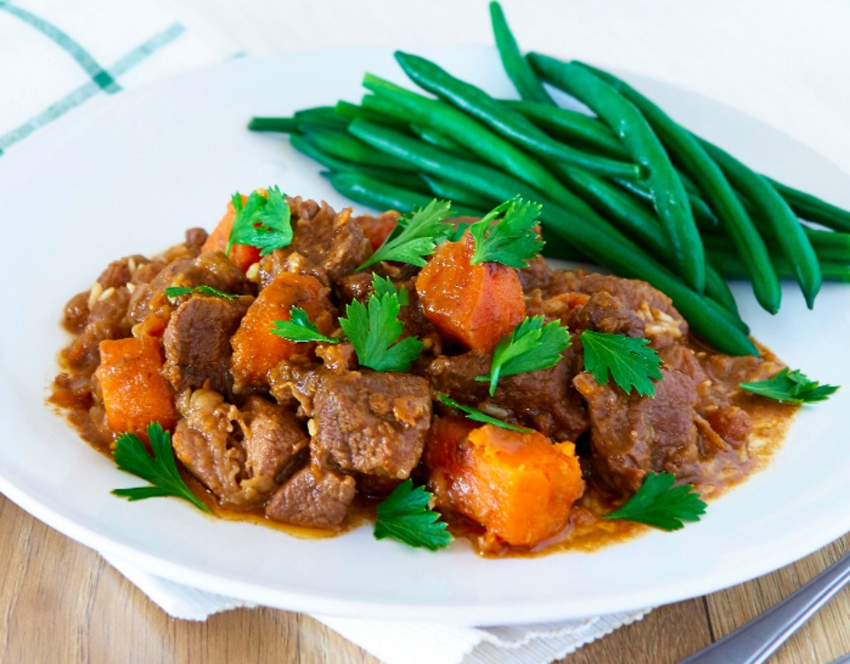 Slow Cooker Beef with Sweet Potato and Pine Nuts