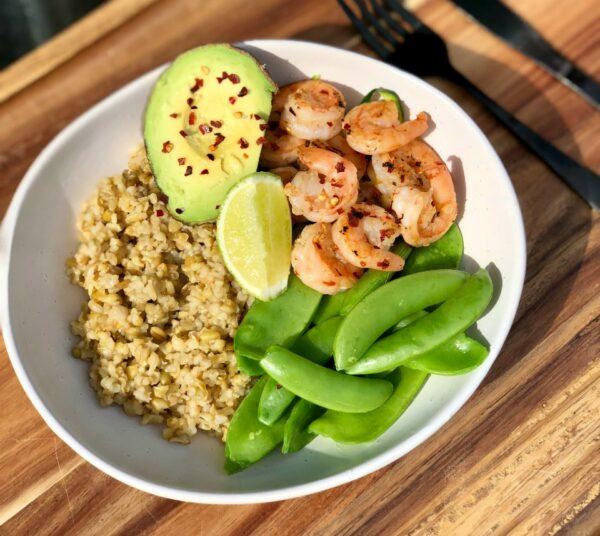 Chilli Prawn and Avocado Macro Bowl
