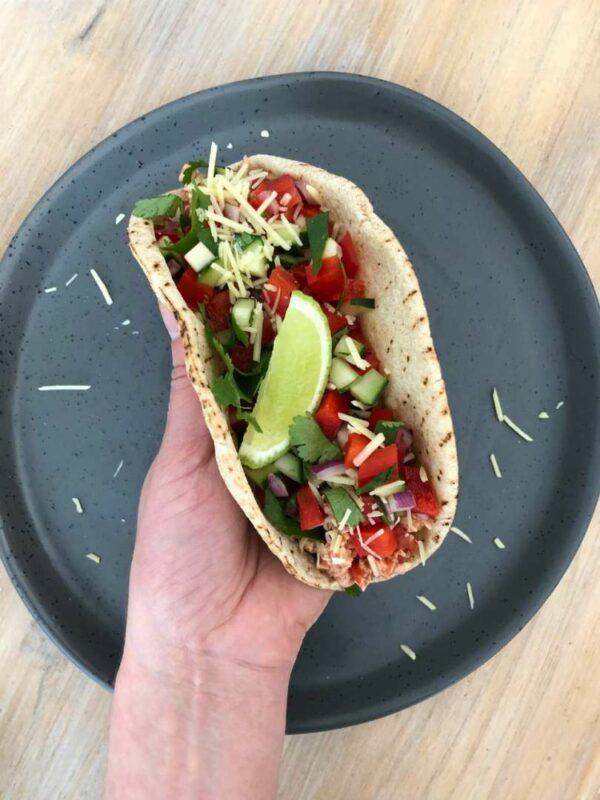 Mexican Inspired Shredded Chicken Pita Taco